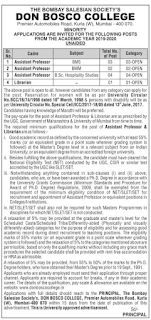Don Bosco College, Mumbai, Recruitment 2019 Assistant Professor / Librarian Jobs