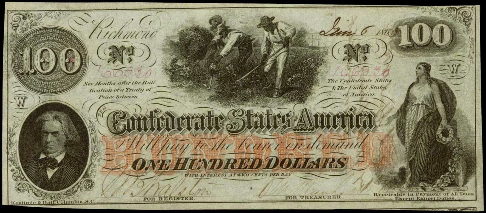 Confederate Money One Hundred Dollars 1862 Calhoun