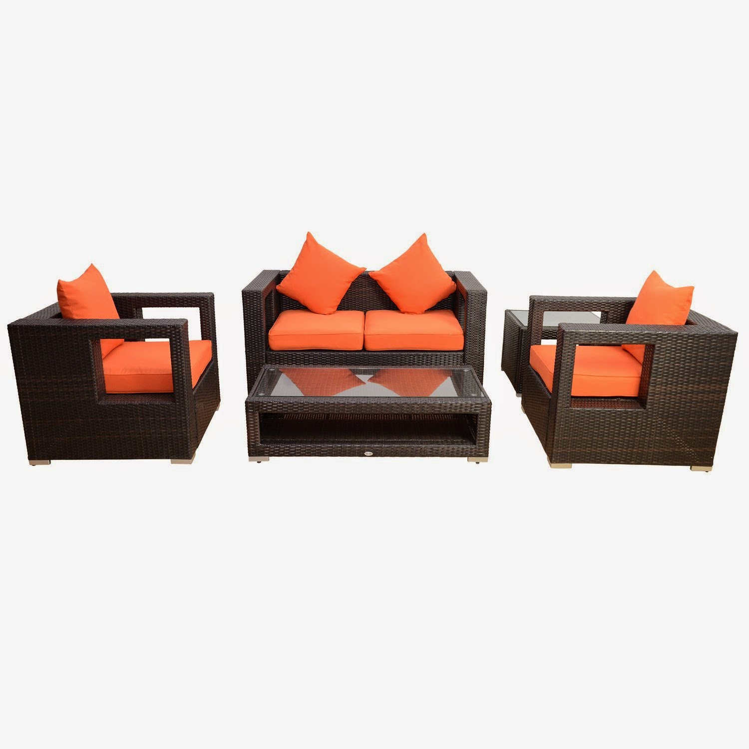 Outsunny 5pc Outdoor PE Rattan Wicker Sectional Loveseat Sofa Set