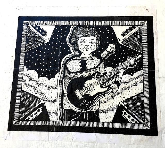 Guitar musician wall art