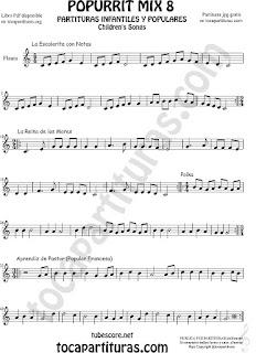 Mix 8 Partitura de Flauta dulce y de pico La Escaleritas con Notas, La Reina de los Mares, Polka Infantil, Aprendiz de Pastor Popurrí 8 Sheet Music for Recorder Music Score