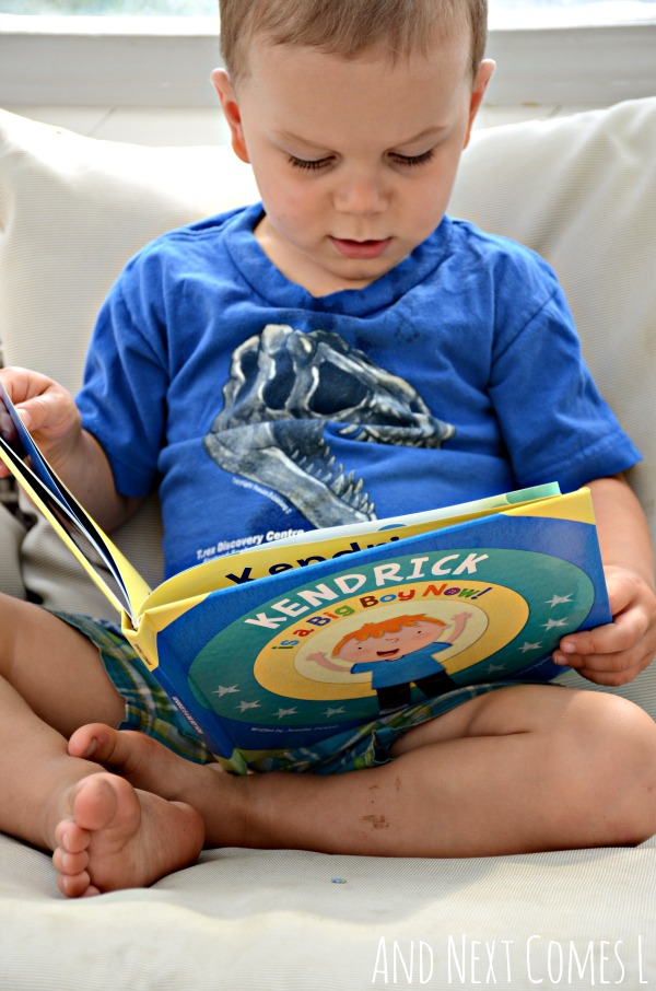 Reading the I'm a Big Boy Now personalized storybook from I See Me {review & giveaway} from And Next Comes L
