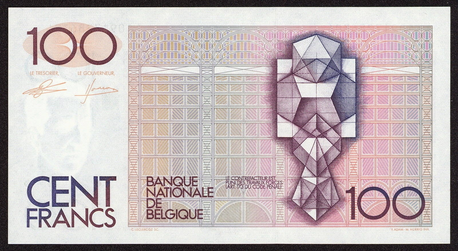 Belgium Money Currency 100 Francs banknote 1982