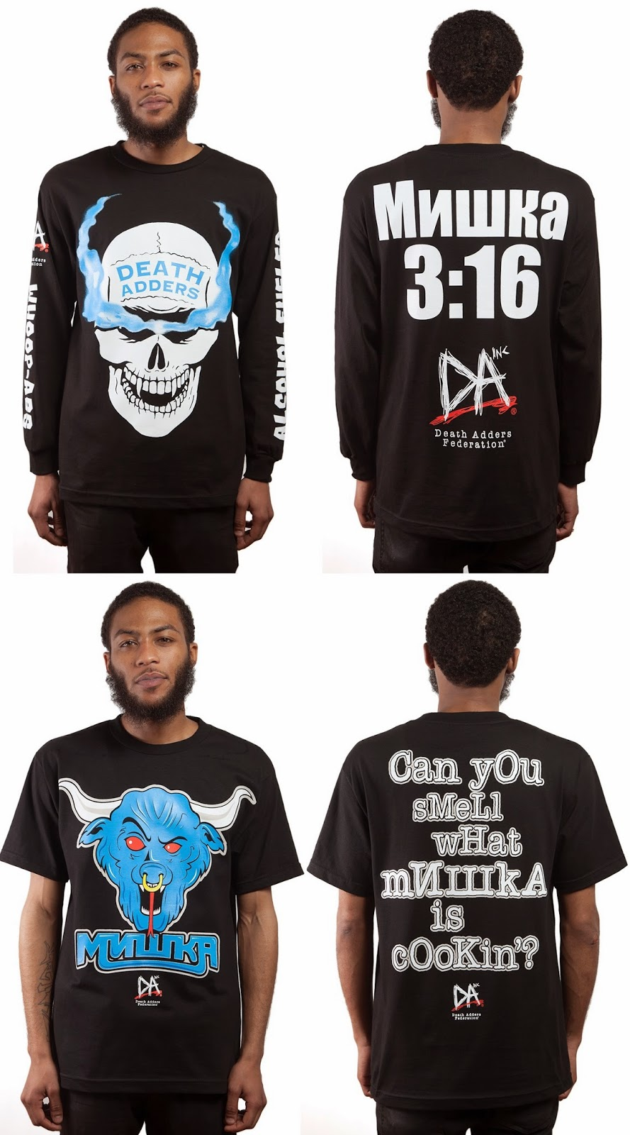 "Mishka NYC x WWE Attitude Era T-Shirt Collection - ""Mishka 3:16"" & ""Brahma Adder"""