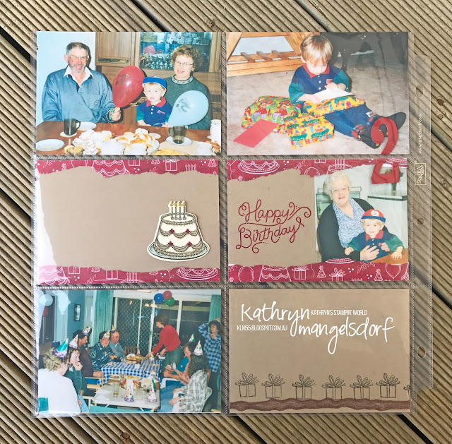 Stampin' Up! Birthday Delivery Bundle, Birthday Delivery, Birthday Memories DSP, Birthday Friends Framelits Dies, Birthday Scrapbooking Page designed by Kathryn Mangelsdorf