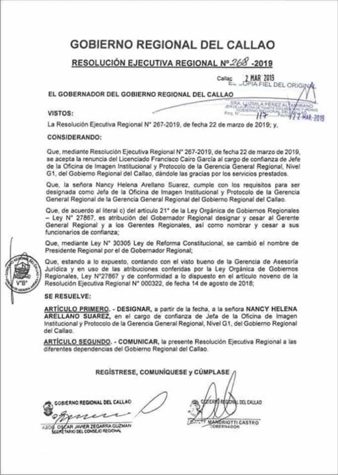 Gobernador del Callao designó a venezolana sin título como Jefa de Imagen Institucional | Pulso Municipal