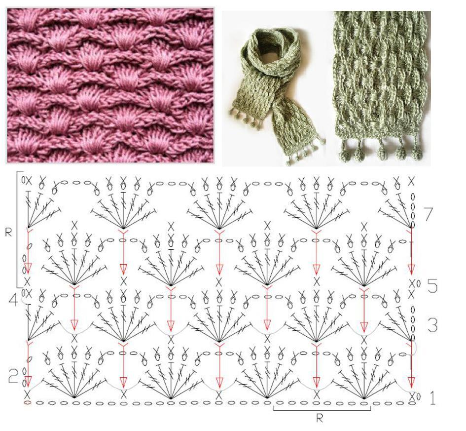 Patron Crochet Bufanda punto espiga