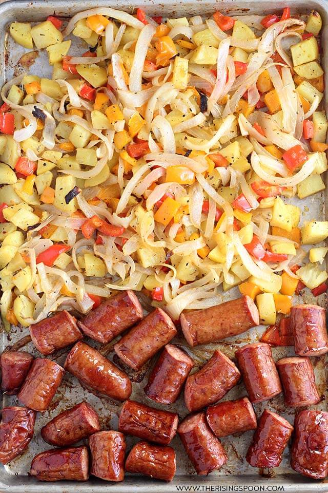 Smoked Sausage, Potatoes & Veggies Sheet Pan Dinner
