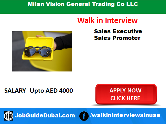 Job in Dubai for sales executive and sales promoter