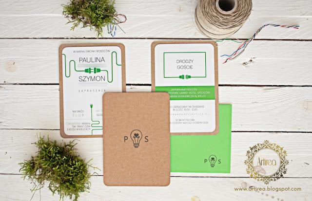 nowoczesne zielone ekologiczne industrialne zaproszenia slubne artirea