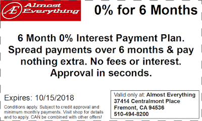 Coupon 6 Month Interest Free Payment Plan September 2018