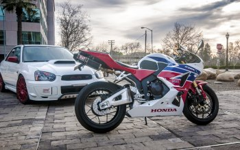 Wallpaper: Subaru WRX and Honda CBR