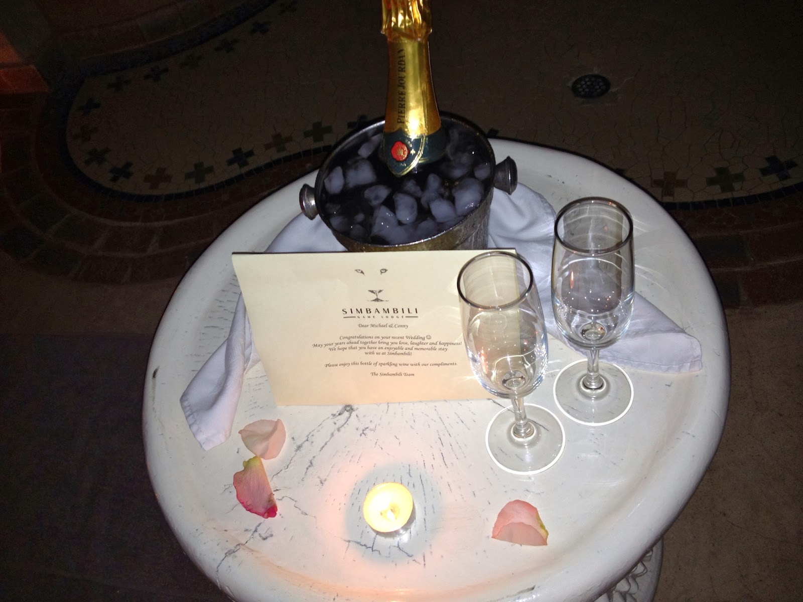 Sabi Sands - Champagne to toast our honeymoon