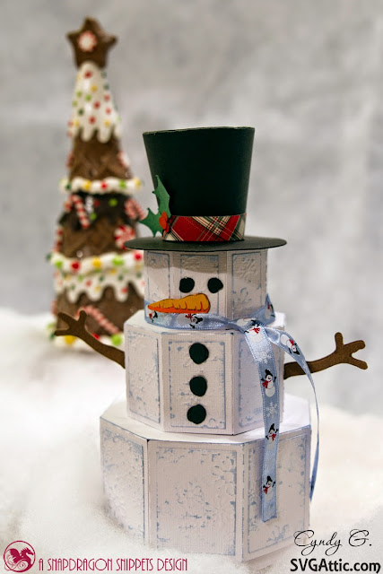 3d paper snowman with top hat