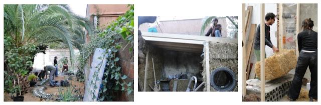 Casa construida en Barcelona con botellas, balas de paja, neumáticos, madera, tierra.deixalatevaempremta.org