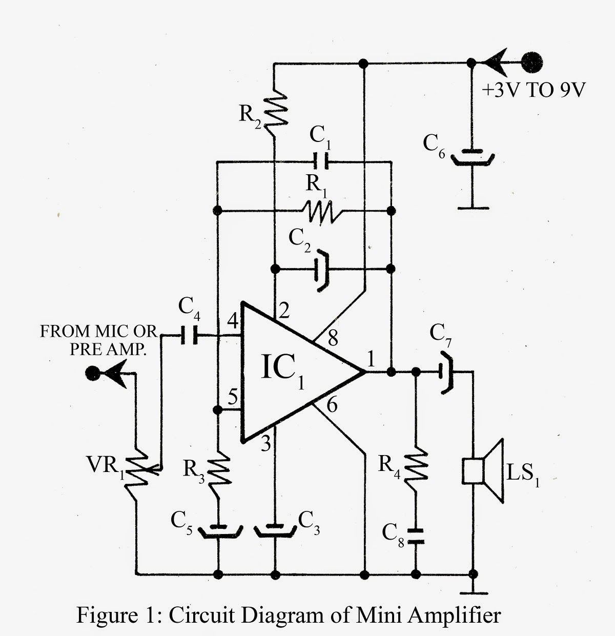 mini amplifier circuit diagram electronic projects ic based audio mini amplifier  [ 1200 x 1241 Pixel ]