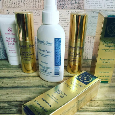 Tratamiento regenerador antiaging, elisabeth vargas cosmetic, sublime make ups, tropical peeling, thermal tonic, tens up face mask, senescence serum, idono cream spf 50,
