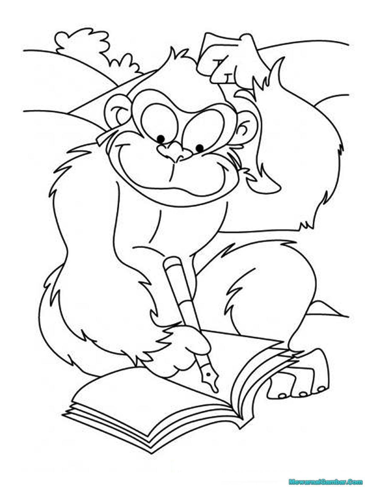 Mewarnai Gambar Gorila Yang Pintar Sedang Menulis Puisi