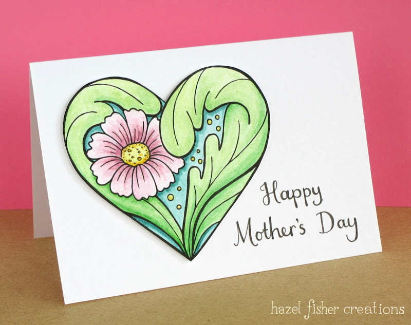 Mother's Day Card floral heart design with digital stamp by hazelfishercreations