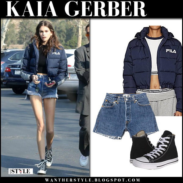 Kaia Gerber in navy puffer cropped fila adelina jacket and denim shorts re/done street style december 16