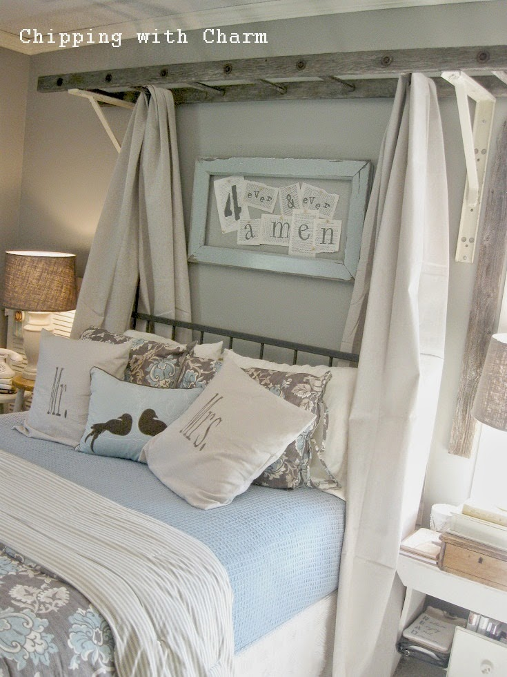 Chipping with Charm: ladder bed canopy...http://www.chippingwithcharm.blogspot.com/