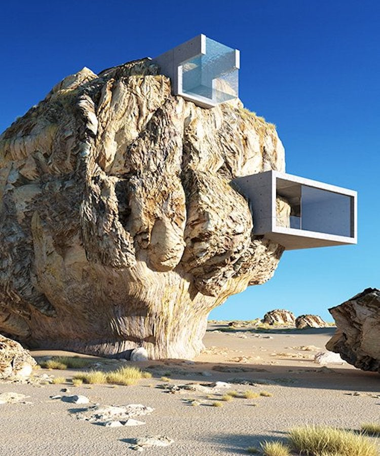 A Genius Architect Designed A Contemporary House Inside A Gigantic Ancient Rock