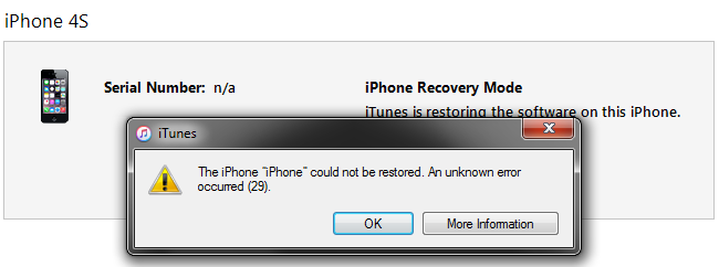 iphone could not be restored how to fix itunes error 29 iphone 4s 5 5c 5s 6 6 6s 7 1879
