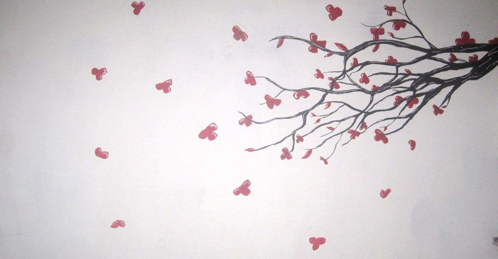 Dibujo De Flor De Cerezo Para Colorear: Arbol De Cerezo Dibujo Mural