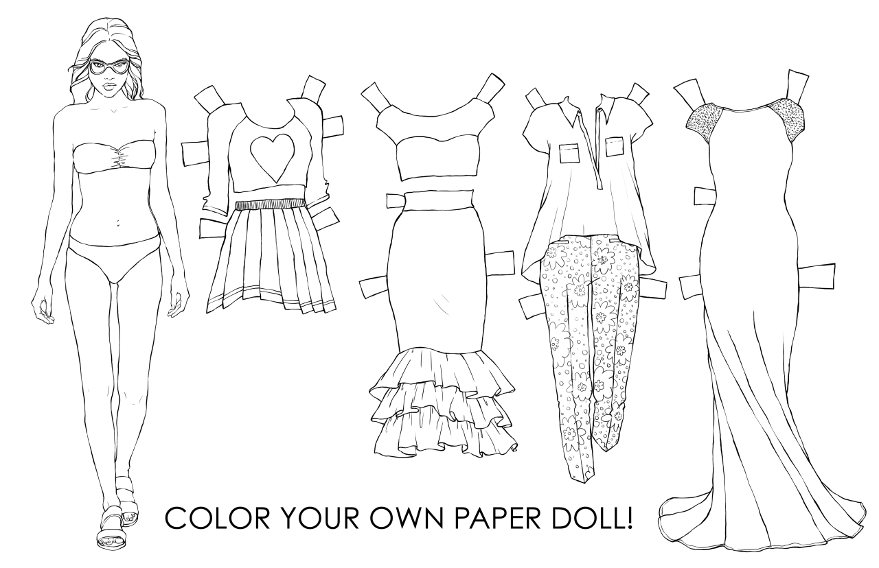 The Spinsterhood Diaries Thursday Fun Color Your Own Paper Doll