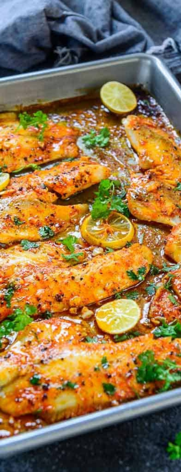 Spicy Lemon Garlic Baked Tilapia #MAINCOURSE #LUNCH