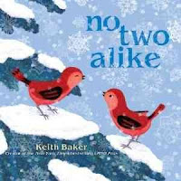 No Two Alike by Keith Baker cover with two red birds on snowy tree