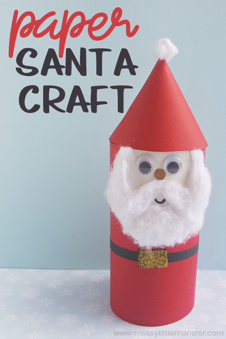 Paper tube Santa craft for kids. Easy Santa crafts for preschoolers.