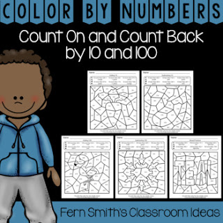 Second Grade Go Math 2.9 Count On and Count Back By 10 and 100 Color By Numbers