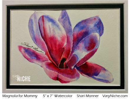 Watercolor painting of a pink and purple magnolia by Shari Monner, VaryNiche.com