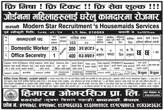 Free Visa Free Ticket Jobs in Jordan for Nepali, Salary Rs 43,452