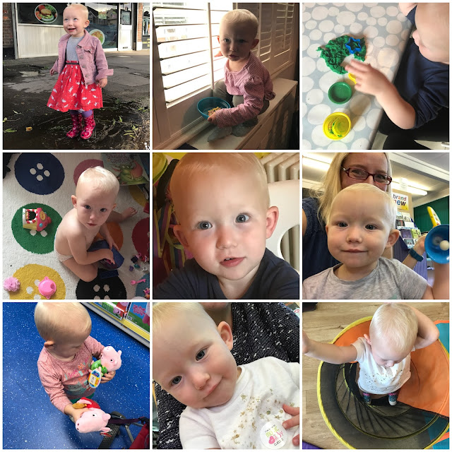 9 photographs of Little in the last month including: jumping in a puddle, playing with playdough, standing on the radiator, surrounded by mess, close up of face, ringing a bell, with Peppa Pig toys at Smyth's, a wonky selfie and dancing in a tunnel