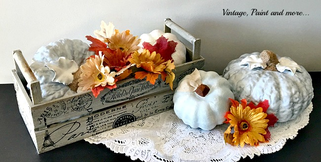 Vintage, Paint and more... blue ceramic pumpkins with burlap flowers and wood box for a fall vignette