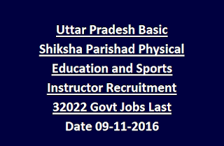 Uttar Pradesh Basic Shiksha Parishad Physical Education and Sports Instructor Recruitment 32022 Govt Jobs Last Date 09-11-2016