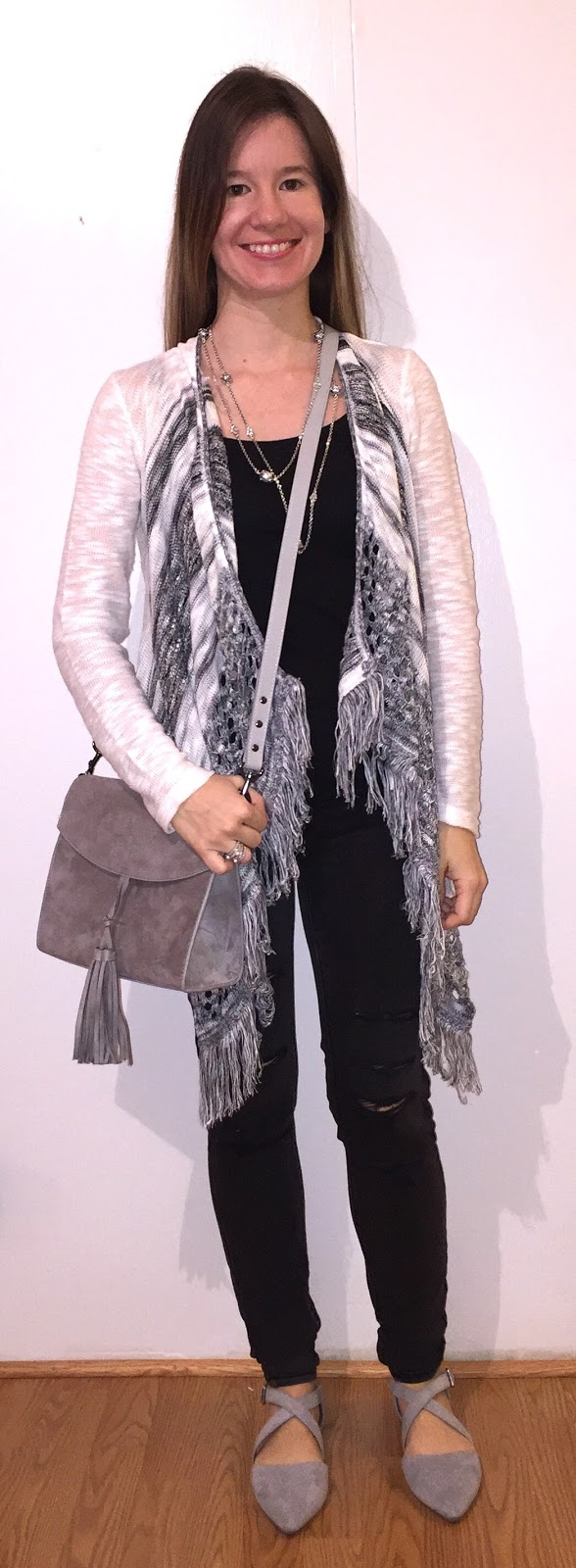 No Boundaries Fringe Shawl Cardigan Express Gray Suede Tassel Bag Charlotte Russe Gray  Dorsay Pointed Toe Flats