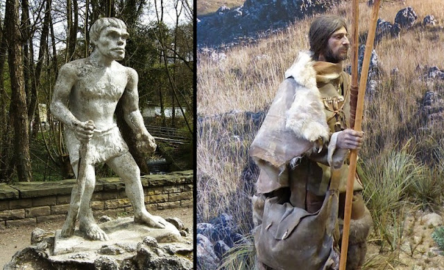 (Left) A classic stereotypical depiction of a caveman.  (Right) A recreation of a caveman based on the latest historical evidence.