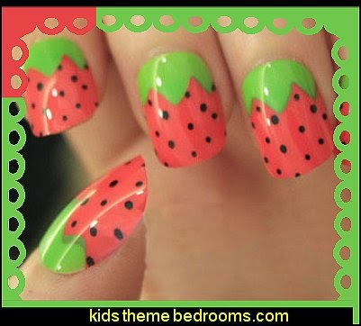 strawberry false nail art decoration