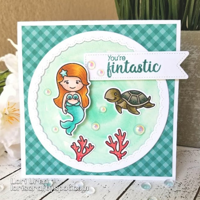 Sunny Studio Stamps: Magical Mermaids Oceans of Joy Customer Card Share by Lori Uren