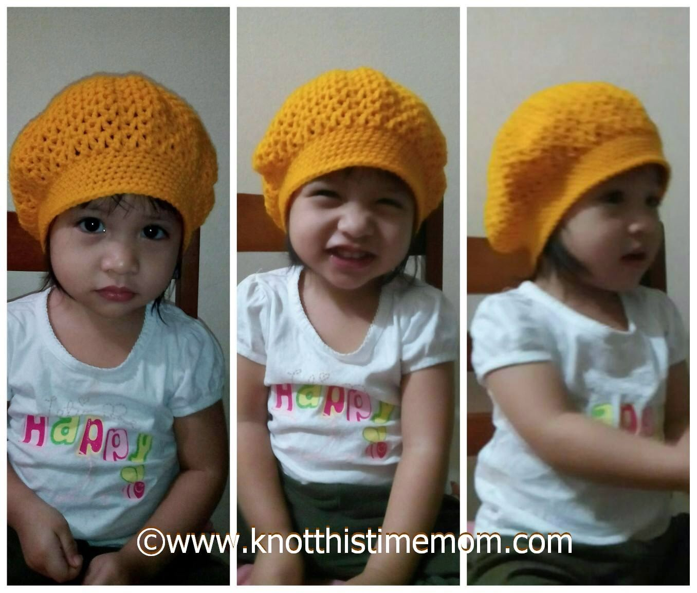 Toddler's V-stitch Slouchie Beret Hat (Free Pattern)
