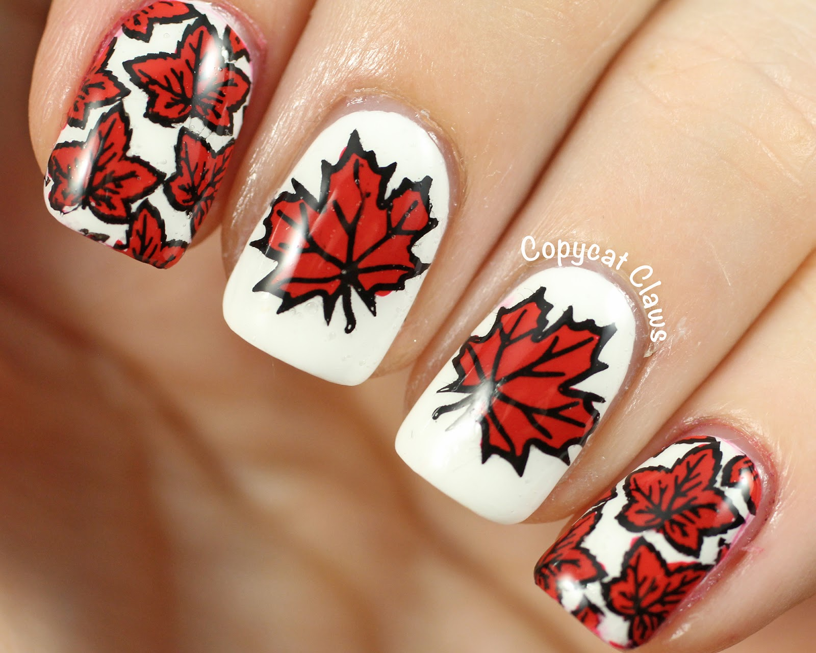Copycat Claws: Sunday Stamping - Canada Day Nails