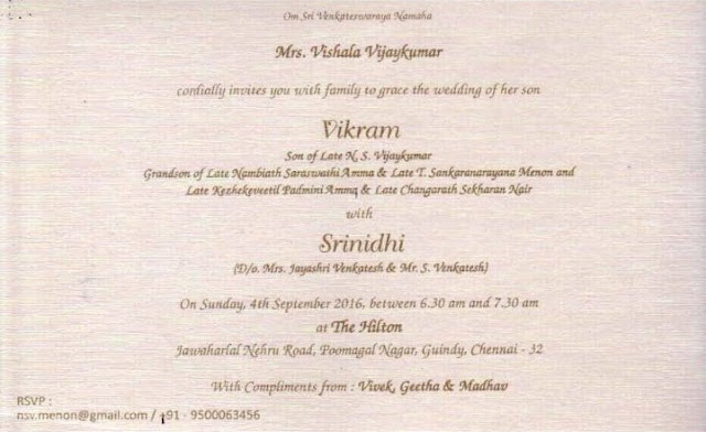 Vikram kumar -Srinidhi Wedding Card