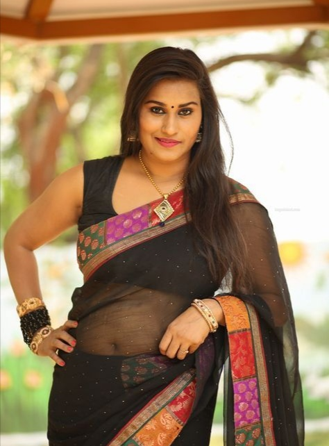 Telugu Character Artist(Supporting Actress) Mahathi wearing beautiful saree photo shoot stills.