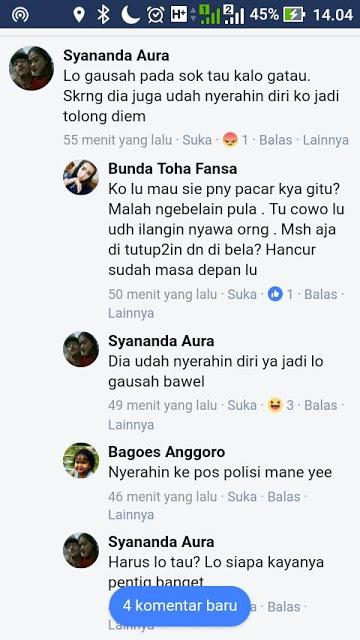 Netizen Bully Akun Facebook Ini Karena Bela Pacarnya Yang Bunuh Driver Ojek Online