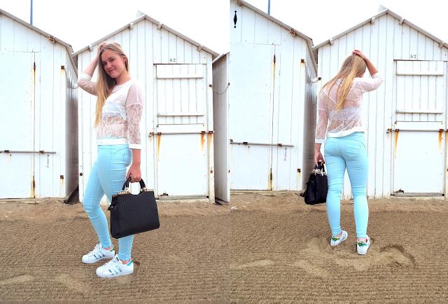 look avec pantalon bleu ciel