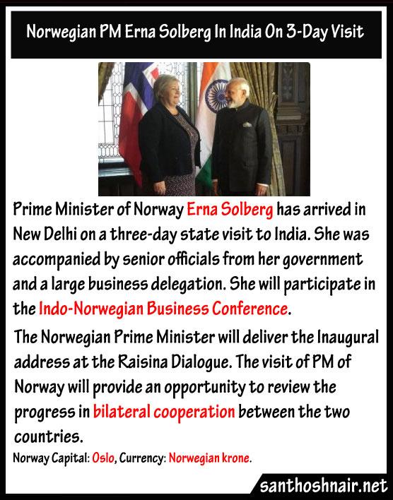 Norwegian PM Erna Solberg in India on 3 day visit