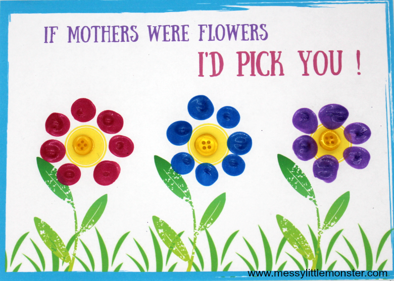 Printable Mothers day card keepsake craft for kids - fingerprint flowers